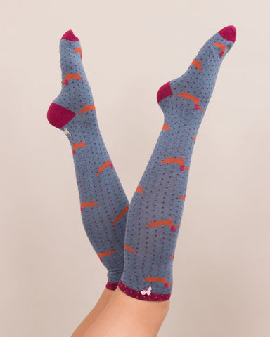 Powder Long Sock - Sausage Dog in Indigo 8168