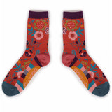 Powder Ankle Socks - Scandi Floral in Tangerine 10558