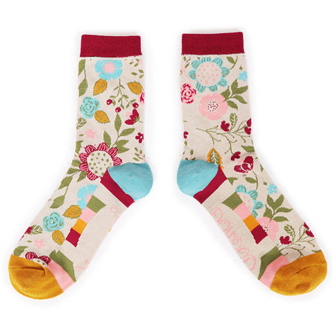 Powder Ankle Socks - Scandi Floral in Cream 10557