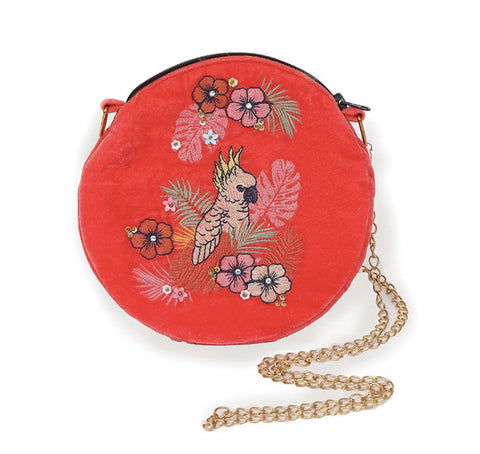 Powder Velvet Embroidered Bag - Cockatoo in Pink 9783