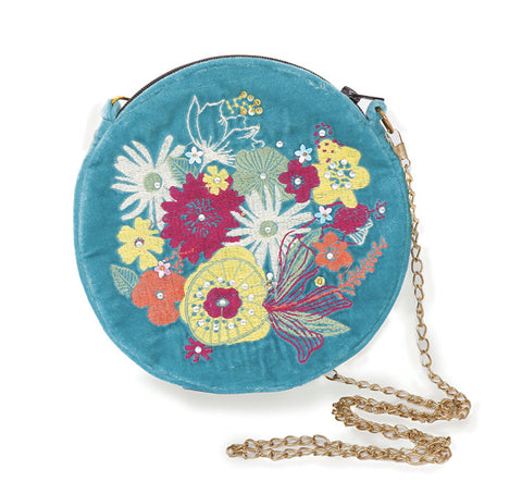 Powder Velvet Embroidered Bag - Modern Floral in Turquoise 9784