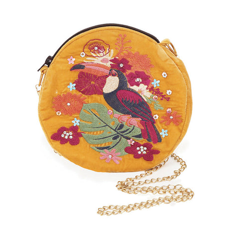 Powder Velvet Embroidered Bag - Toucan in Mustard 9782