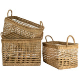 Seagrass Rectangular Basket Md with Handles 8845