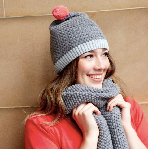Earth Squared Knitted Bobble Hat - Slate 7110