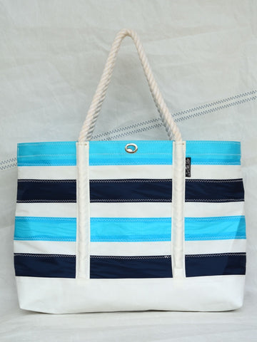 Blue striped Sailcloth beach bag