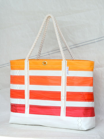 orange striped beach bag sailcloth