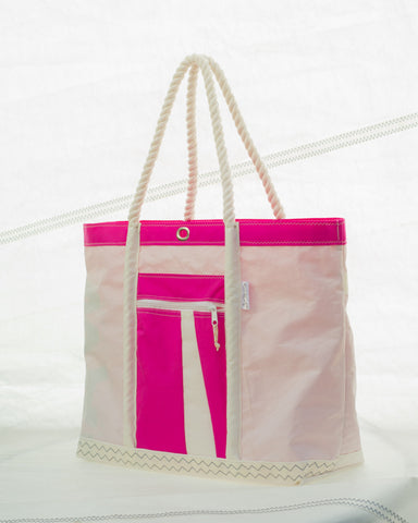 pink sailcloth beach bag