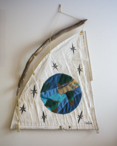 Sailcloth Fabric Art: Earth and Stars