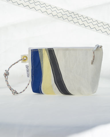 Wristlet: Blue, Yellow, Gray Tricolor stripes