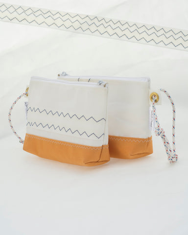 Wristlet: Pumpkin Canvas & Sailcloth Bag