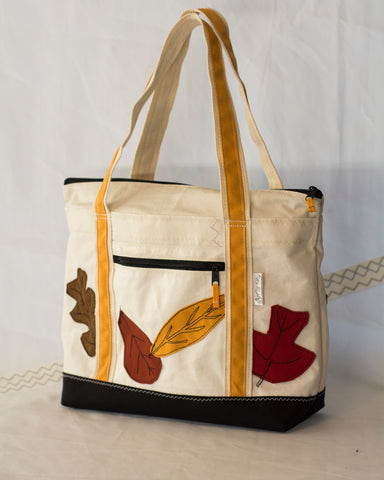 Terrapin Small Tote: Autumn Leaves, Recycled Sailcloth Bag