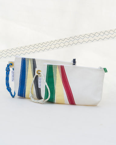 Wristlet: Tricolor Striped Sailbag