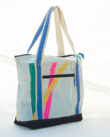 Terrapin Small Tote: Abstract Retro Stripes, Sailcloth Bag