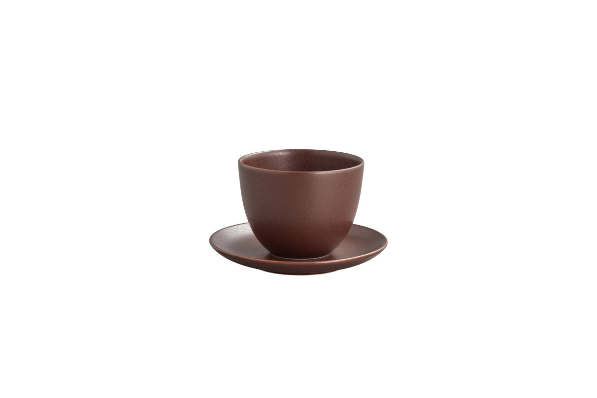 Brown Kinto Pebble Cup and Saucer Set