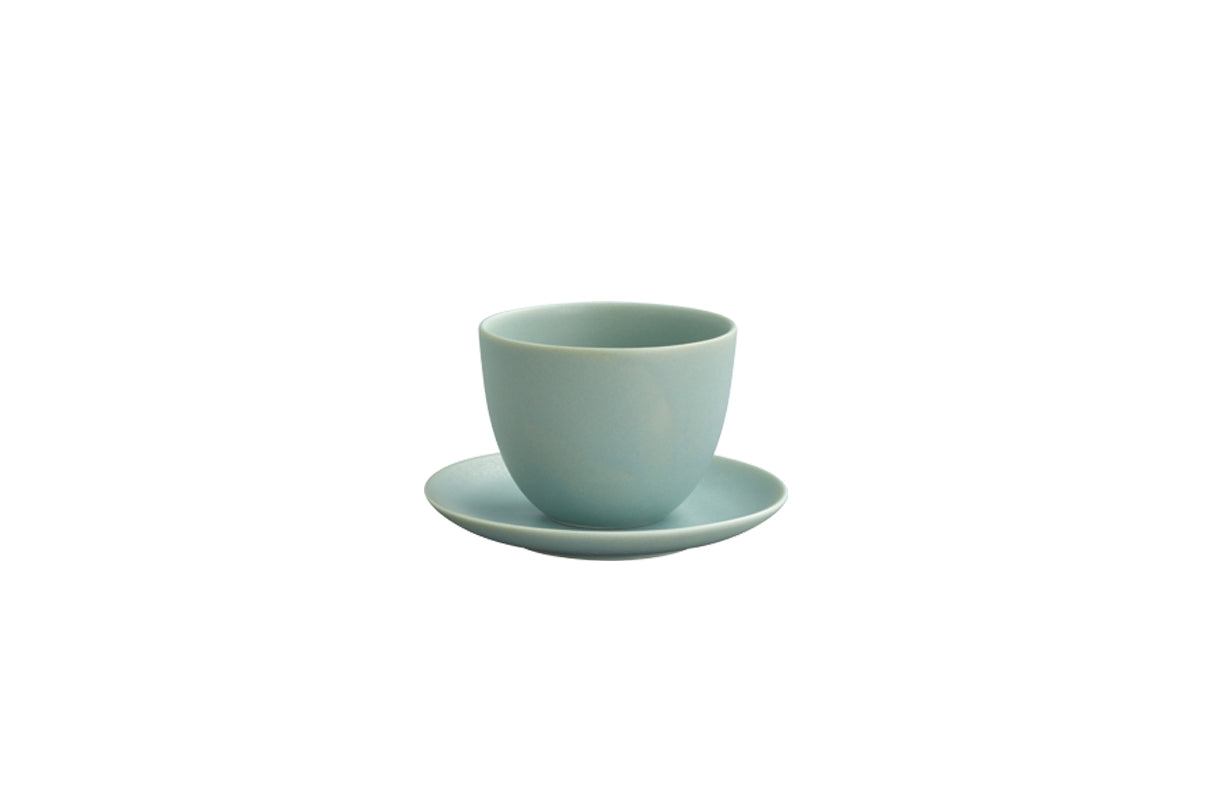 Moss Green Kinto Pebble Cup and Saucer Set