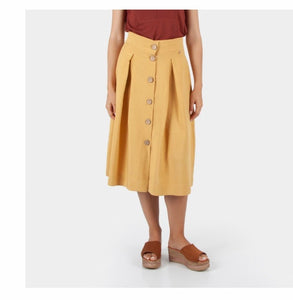 Three ways to style the Cotton Brothers gold buttoned skirt - £75