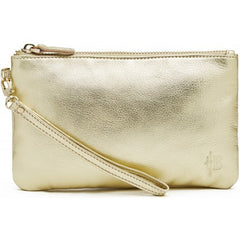 Mighty purse - gold shimmer leather wristlet