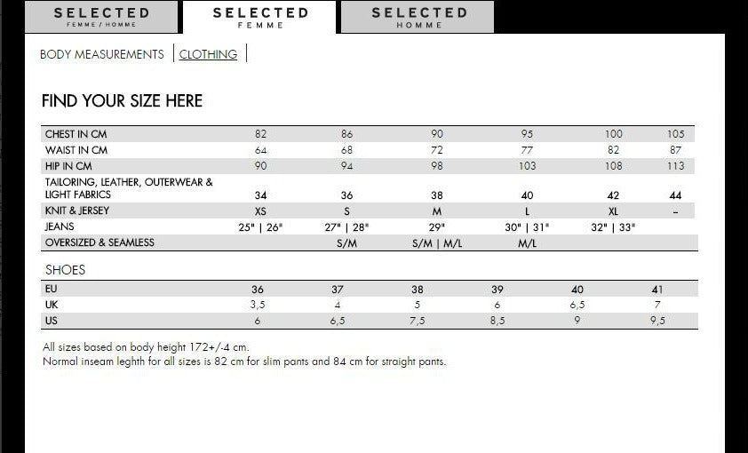Sizing charts eden retail limited