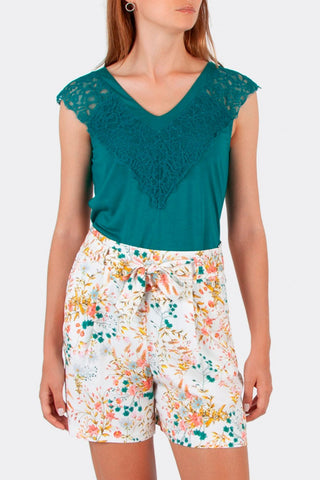Cotton brothers  - Green jersey top with lace