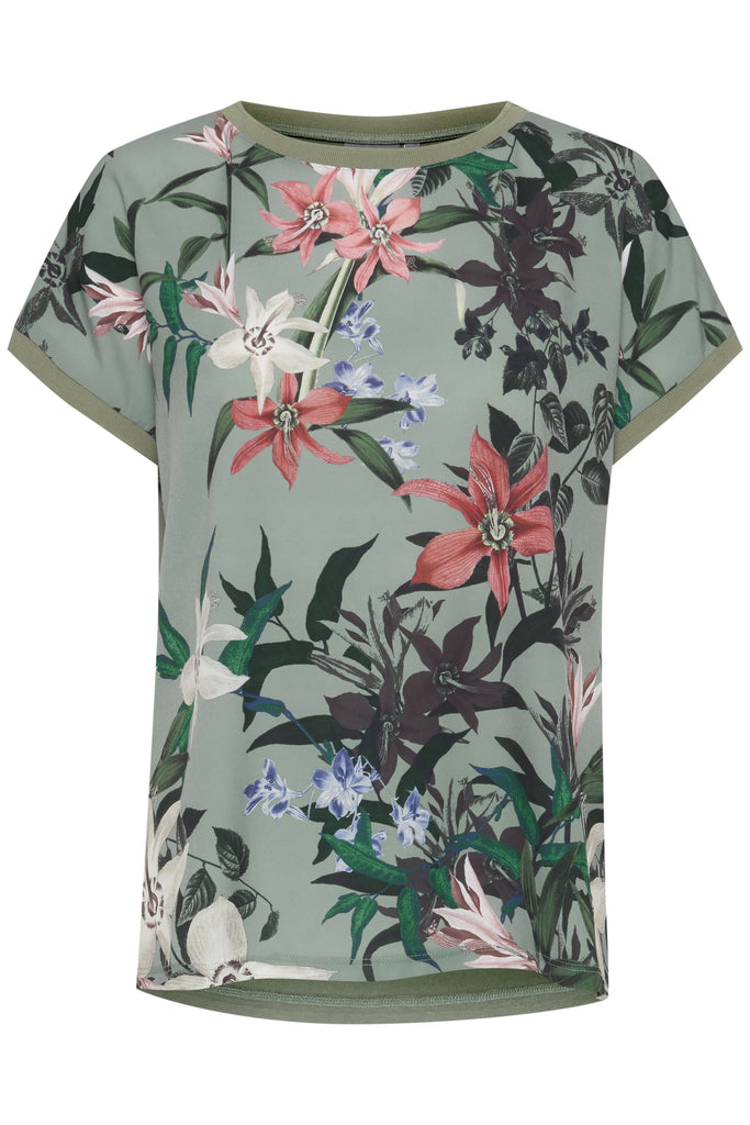 B Young - Bypanya floral rib top