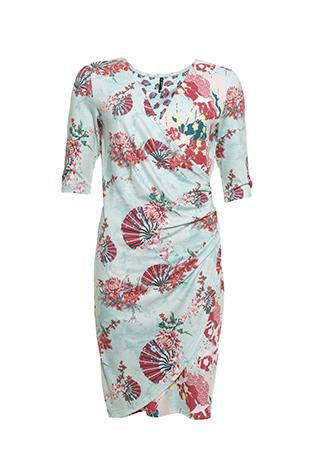 Smash - Avelina Osaka print faux wrap dress
