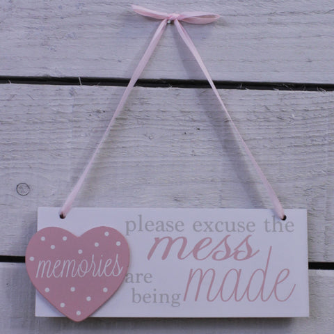 Wooden Hanging Sign - Please Excuse the Mess