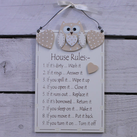 Wooden Hanging Sign - Cutie Owl - House Rules