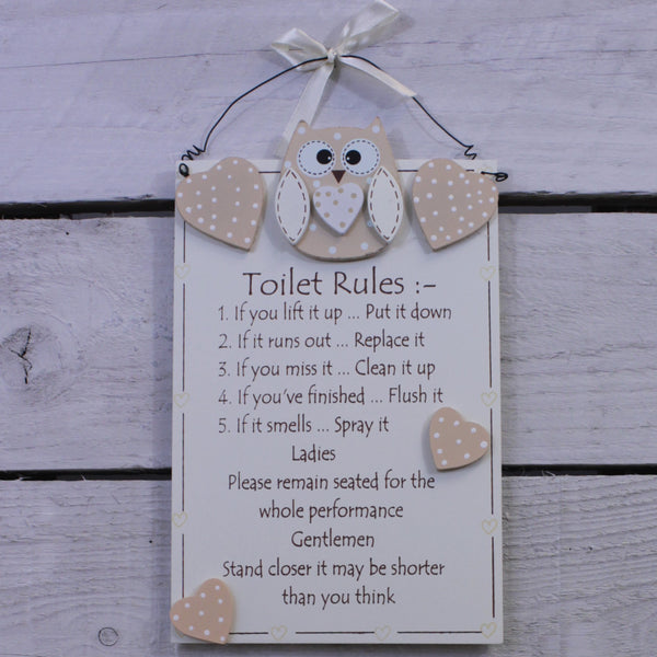 Wooden Hanging Sign - Cutie Owl - Toilet Rules