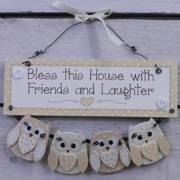 Wooden Hanging Sign - Cutie Owl - Bless this House