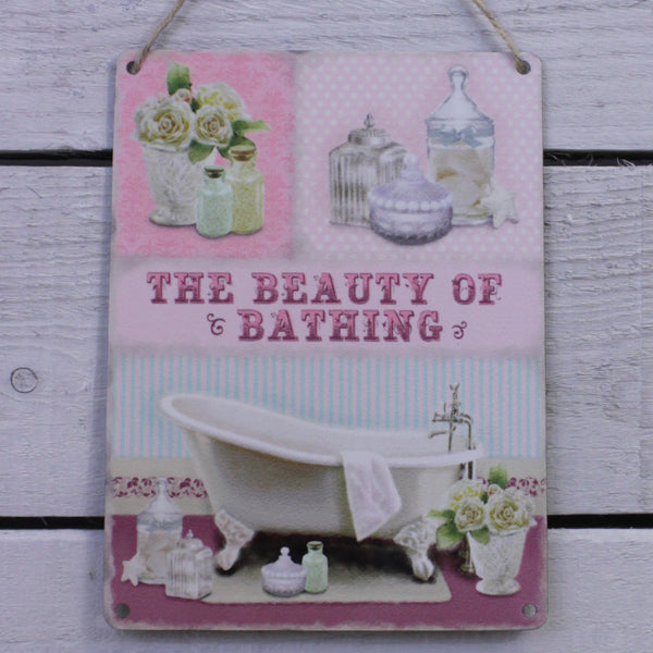Vintage Tin Hanging Sign - The Beauty of Bathing