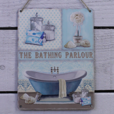 Vintage Tin Hanging Sign - The Bathing Parlour