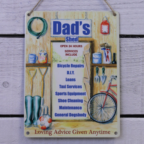 Vintage Tin Hanging Sign - Dad's Shed