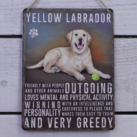 Vintage Tin Hanging Sign - Yellow Labrador