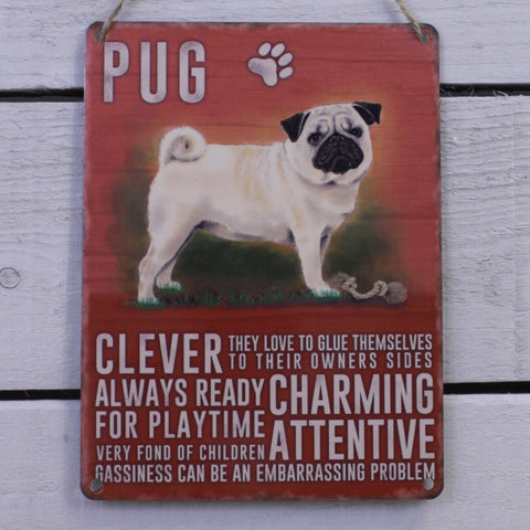 Vintage Tin Hanging Sign - Pug