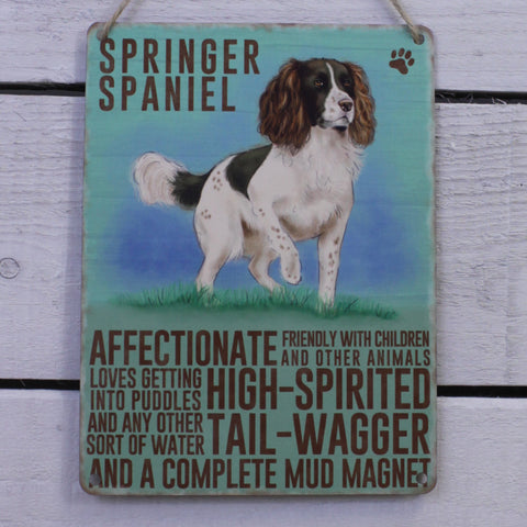 Vintage Tin  Hanging Sign - Springer Spaniel