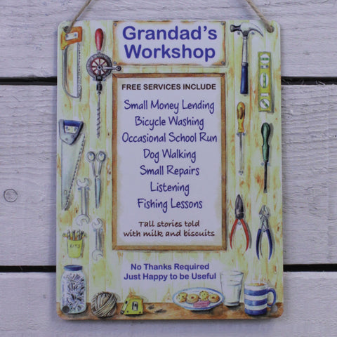 Vintage Tin Hanging Sign - Grandad's Workshop