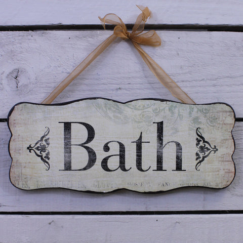 Wooden Hanging Sign - Bath