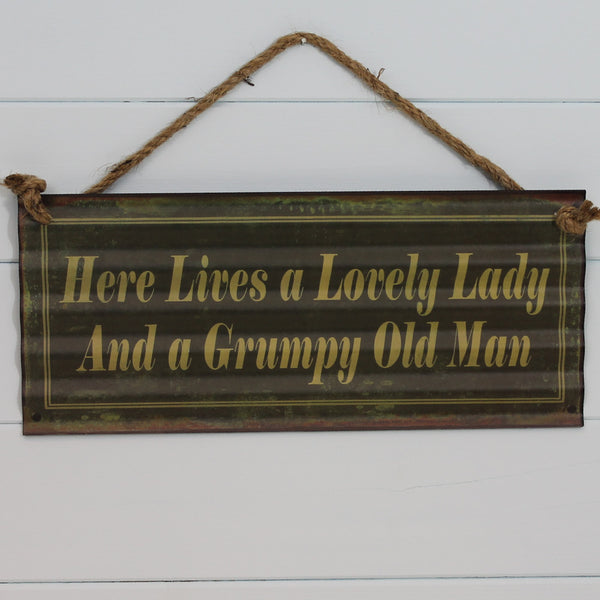 Vintage Tin Hanging Sign - Lovely Lady Grumpy Man