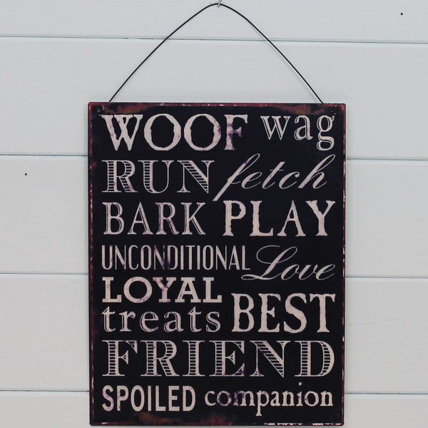 Tin Hanging Sign - Woof Wag Run Fetch