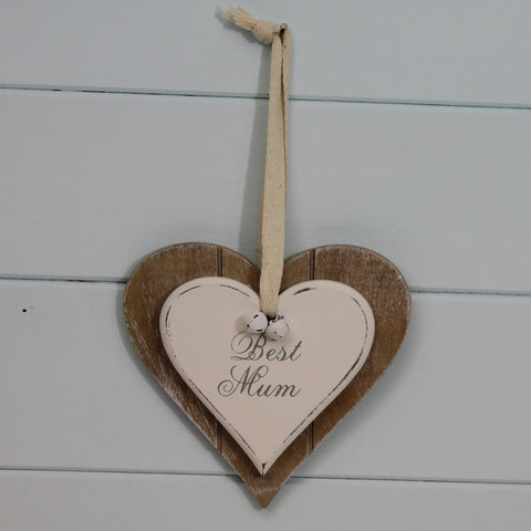 Wooden Hanging Heart - Best Mum