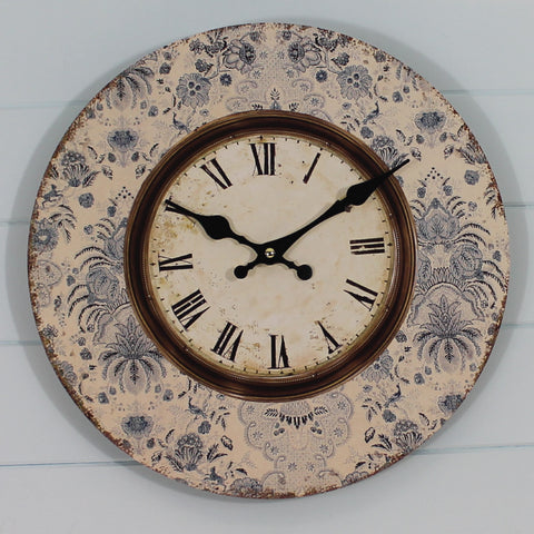 Shabby Chic Clock - Blue Floral Print