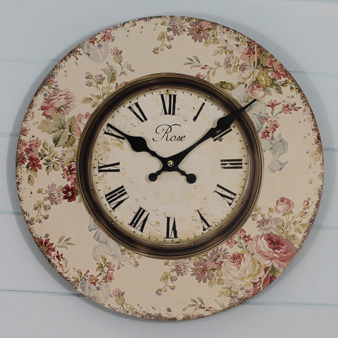 Shabby Chic Clock - Rose Floral Print