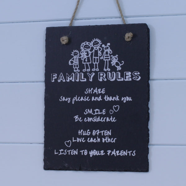 Slate Hanging Sign - Family Rules