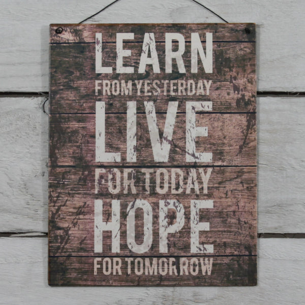 Vintage Tin Hanging Sign - Learn from Yesterday
