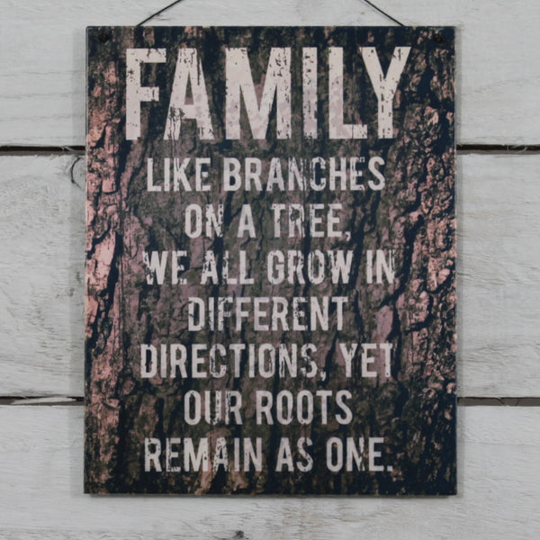 Vintage Tin Hanging Sign - Family Like Branches
