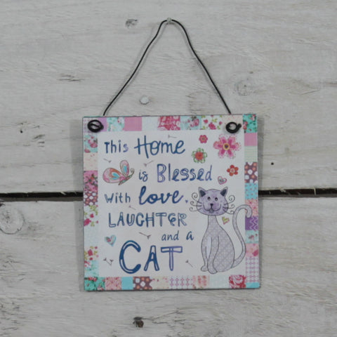 Tin Hanging Sign - Home Blessed Cat