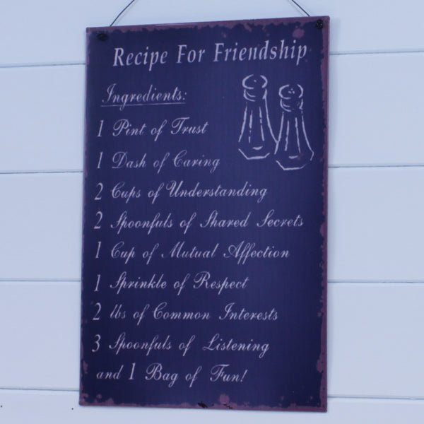 Metal Hanging Sign - Recipe for Friendship