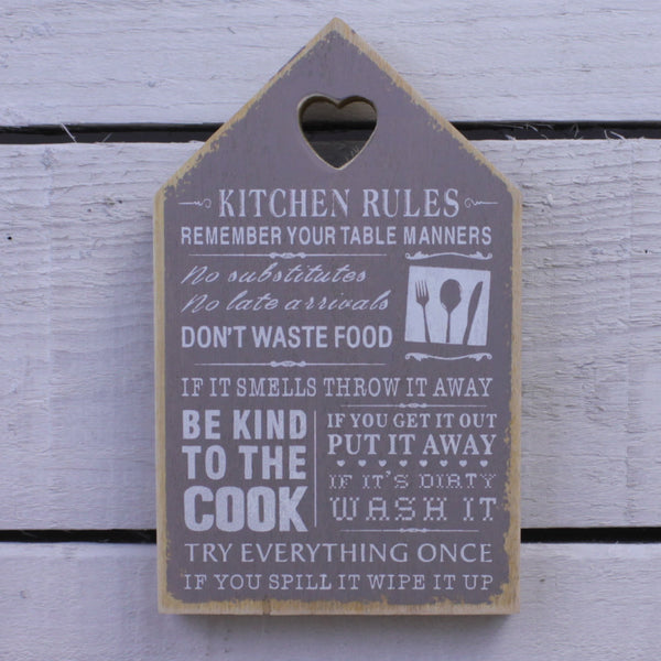 Wooden Plaque - Kitchen Rules