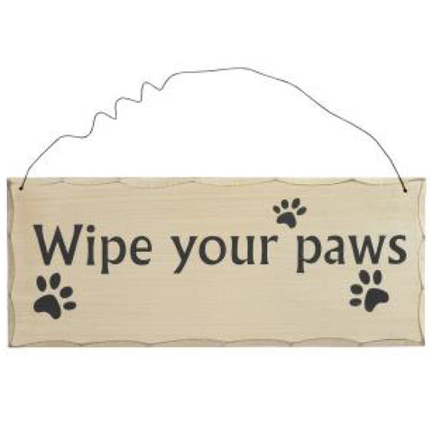 Wooden Hanging Plaque Wipe Your Paws
