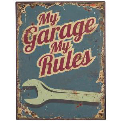 My garage Rules Tin Hanging Plaque